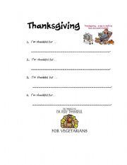 English Worksheets: I�m Thankful For...
