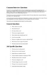 English worksheet: common interview questions