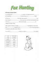 English Worksheets: Fox Hunting
