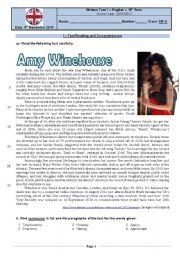 English Worksheets: Test - Amy Winehouse