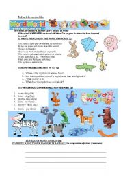 English Worksheets: Animals in Word World
