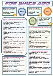 English Worksheet: FOR SINCE AGO