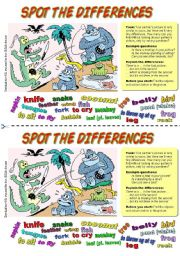 English Worksheets: Spot the differences (5). Alligator at lunch