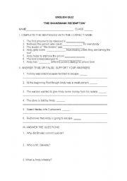 The Shawshank Redemption Worksheet - ESL worksheet by crisrobb