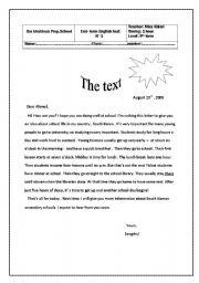 English worksheet: End- term test n°1