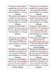 English Worksheet: Warming-up speaking activity (learning english)
