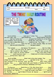 English Worksheet: THE TWINS� DAILY ROUTINE
