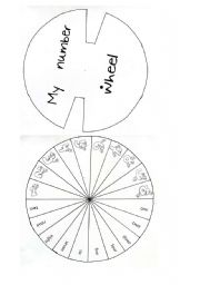 English Worksheet: Number wheel