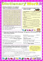 English Worksheet: Working with the Dictionary 3   (short game-type activities)