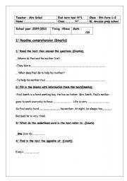 8th end term test 1