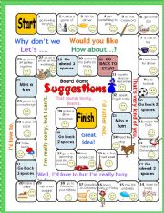 English Worksheet: Making Suggestions Boardgame (Why don�t we..? Lets.. Would you like...? How about ...?)