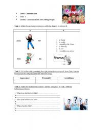 English worksheet: an activity on Describing People