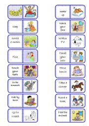 English Worksheets: Daily routines domino - part 1