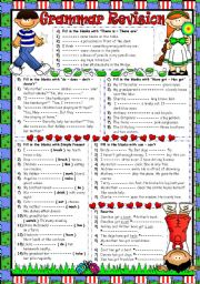 English Worksheets: Grammar Revision