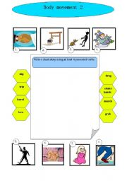 English Worksheets: Body movement 2