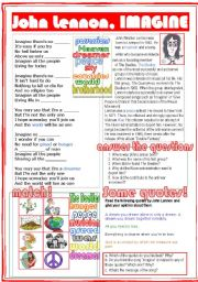 English Worksheet: John Lennon, Imagine