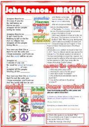 English Worksheet: John Lennon, Imagine