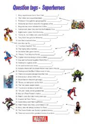 English Worksheet: Question tags - Marvel Comics Superheroes