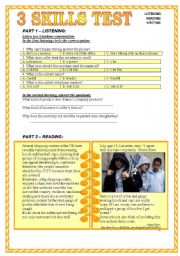 English Worksheet: DRESS CODES - 3 skills test: listening - reading - writing (KEY included)