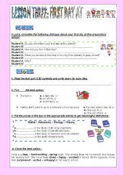 English Worksheet: FIRST DAY AT SCHOOL: module two lesson three 9th formers Tunisia