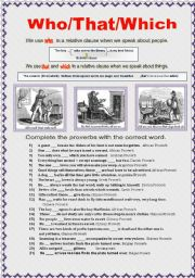 English Worksheet: Who that which