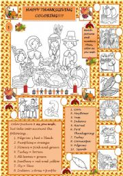 English Worksheet: Happy Thanksgiving coloring