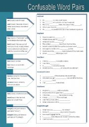 English Worksheets: Confusable Word Pairs 3