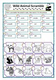 English Worksheets: Wild Animal Word Scramble