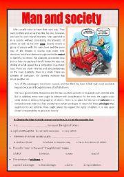 English Worksheets: Reading comprehension ( man and society)