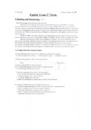 English worksheet: FIRST TERM TEST FOR HIGH SCHOOL STUDENT