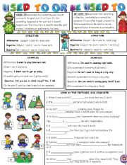 English Worksheet: USED TO OR BE USED TO