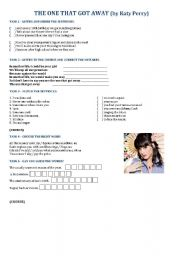 English Worksheet: Katy Perry - The one that got away.