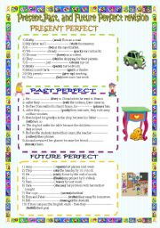 English Worksheet: Present,Past,and Future perfect revision.( key included)