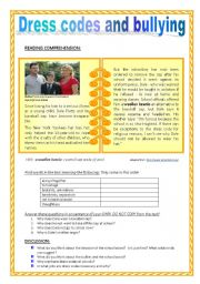 English Worksheet: DRESS CODES and BULLYING (reading comprehension and discussion)
