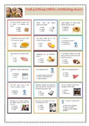 English Worksheet: Food & Eating habits: Vocabulary Quiz!