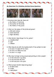 English Worksheets: Mr. Bean goes to a Wedding, Multiple Choice
