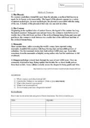 English Worksheets: Mythical Creatures