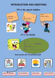 English Worksheets: Greetings and Intrudction
