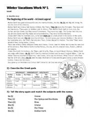 English Worksheet: A Greek Legend