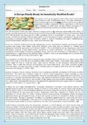 English Worksheet: TEST- IS EUROPE FINALLY READY FOR GENETICALLY MODIFIED FOODS?-VERSION A
