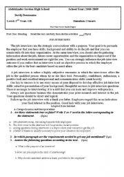 English worksheet: Scond uear high school