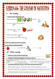 English Worksheet: THE COLOUR OF NUTRITION    2nd year secondary. Tunisia