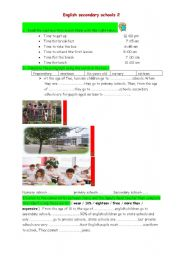 English Worksheet: English Secondary Schools 2