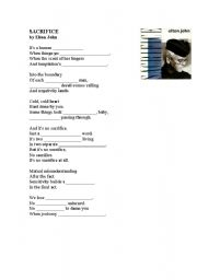 English Worksheet: Sacrifice  Elton John