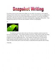 English Worksheets: Snapshot Writing