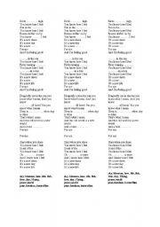 English Worksheets: Birds flying high lyrics ready worksheet