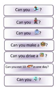 MODAL VERB CAN USED FOR ORAL TEST - ESL worksheet by genial