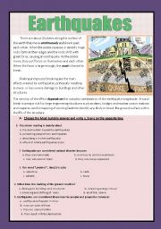 English Worksheet: Reading comprehension ( earthquakes)
