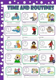 English Worksheets: Time and routines