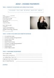 English Worksheets: Chasing Pavements - Adele